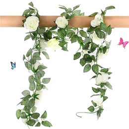 Roses cReam floweR online shopping - 2 Fake Flowers Vine FT Heads Silk Artificial Roses Garland Plant for Wreath Wedding Party Home Garden Wall Decoration Cream