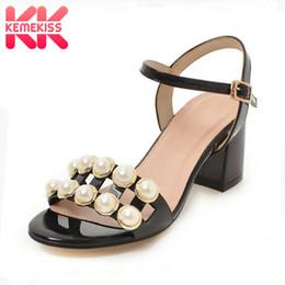 $enCountryForm.capitalKeyWord NZ - wholesale Women High Heel Sandals Buckle Open Toe Thick Heel String Bead Ladies Sandals Sweet Ornate Party Footwear Size 34-42