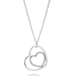 41f46eaef7c5 925 Collar de Plata Esterlina para Las Mujeres Corazón A Corazón Colgante  Collar Claro CZ Pave Cristales ajuste Señora Joyería