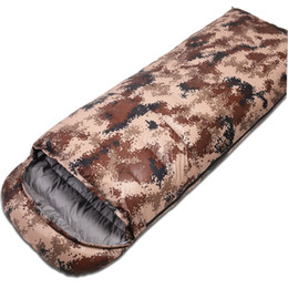 down envelope sleeping bags 2019 - Camouflage Professional Envelope Sleeping Bag Foldable Hooded Cotton Sleeping Bag Splicing Outdoor Camping AA52019 cheap