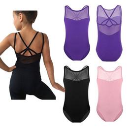 Leotard Cotton Gymnastics Australia - YiZYiF Girls Ballet Tutu Dress Dance Gymnastics Leotard Sleeveless Splice Criss-cross Back Jumpsuit ballerina leotards Dress