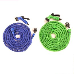 Wholesale high pressure hose online shopping - High Pressure Car Wash Blue Green Latex m25ft Telescopic Expanding Flexible Hose Spray Nozzle Bathroom Faucets Accessories bm6 ff