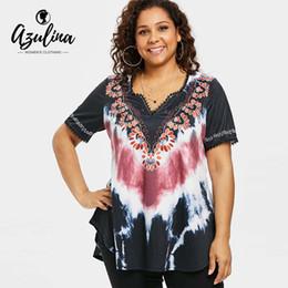 418a5484c1bd1 AZULINA Plus Size Tie Dye Curved Hem T-Shirt 2018 Summer V Neck Short  Sleeve Lace Print T Shirt Women Clothing Big Size 5XL Tops