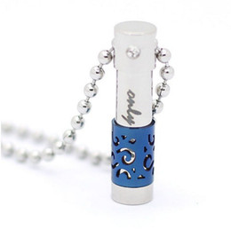 scent bottle pendant UK - Custom personality stainless steel cylindrical scented urn necklace can open the perfume bottle inscription pendant