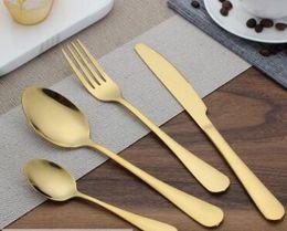 $enCountryForm.capitalKeyWord Australia - Stainless steel Gold Flatware Sets Spoon Fork Knife Tea Spoon Dinnerware Set Kitchen Bar Utensil 4 Style Sets