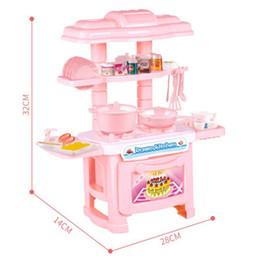 toy play kitchen sets 2019 - Lovely Girl Mini Play House Toy Girls Simulation Cooker Kitchen Toy Set Hot Sale Cutlery Model Set Gift for Kids cheap t