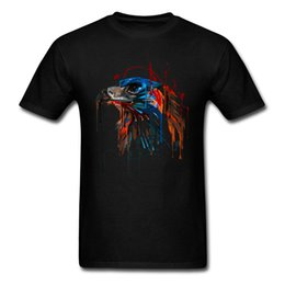 painting clothing UK - T Shirt Party Tshirt Eagle Painting T-shirts Men Black Clothes Student High Quality Funny Tops Tees Crew Neck Summer Pure Cotton