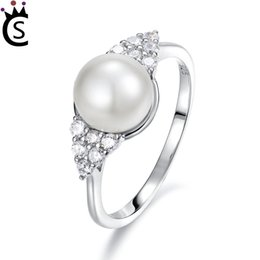 China Luxury Wholesale Jewelry NZ - Genuine 925 Sterling Silver rings with Simulated Pearl lover ring Women Luxury Sterling Silver Jewelry wedding rings