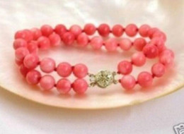 Coral Beads Strands Australia - ELEGANT 2 ROWS PINK CORAL BEAD BRACELET 7.5'' > free shipping