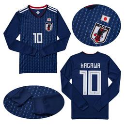 Chinese  Long sleeve 2018 world cup Japan Soccer Jersey 17 18 Japan Home blue soccer Shirt #10 KAGAWA #4 HONDA football shirts manufacturers