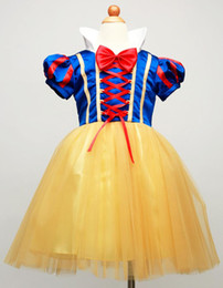 Wholesale New Girls snow white dresses christmas halloween princess girl stage costume tutu dress children bow cosplay skirts kids Performance clothes