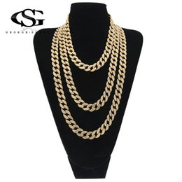 chain tennis 2019 - GS 14mm Mens Hip Hop Necklace Iced Out 1 Row Rhinestone Choker Bling Crystal Tennis Fashion Long Chain 18inch-32inch Dro
