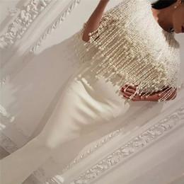 arabic designers evening gowns 2019 - Designer 2018 White Sheath Pearls Evening Dresses Jewel Neck Arabic Prom Gowns Satin Floor Length Formal Dress discount