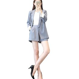 ladies plus short blazers 2019 - Professional set women pant suits 2018 summer temperament stripe blue Office Lady blazer with short pants plus size work