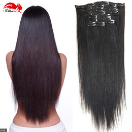 black peruvian hair extensions Canada - Double Weft 100% Remy Human Hair Clip in Extensions 10''-26'' Grade 7A Quality Full Head Thick Long Soft Silky Straight 1B Natural Black