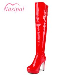 boot red platforms 2019 - Nasipal Thin High Heels Autumn Winter Long Boots Buckle Thick Platform Women Winter High Boots Patent Leather Shoes Woma