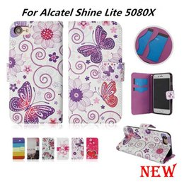 shining leather bags NZ - Wallet Case For Alcatel Shine Lite 5080X Flip PU Leather Case Cover Card Slot with opp bags C