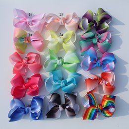 Little Hair Clips Australia - new arrival 16Pcs Little Girls 5'' JO JO Grosgrain Ribbon Hair Bows Boutique Rainbows Bows With Alligator Clips Accessories