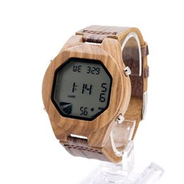 2cd306451 BOBO BIRD V-A13 Men's Luxury Watches Wood Digital Wristwatch with Genuine  Leather Band Complete Calendar Watch for Men as Gifts