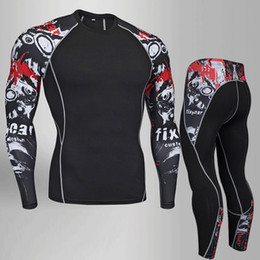 cotton compression top 2019 - 2018 Fitness Compression Shirt Men Rashguard Male Long Sleeve T Shirt Crossfit Bodybuilding Men Skull Print 3D T Tops ch