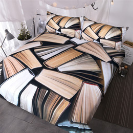 $enCountryForm.capitalKeyWord NZ - Books Pile Bedding Set Vivid 3D Printed Duvet Cover Queen Sleep in the Knowledge Bedclothes for Reader Home Textiles