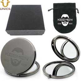 MOQ 100 stücke Customized Logo Falten Compact Spiegel Gun Schwarz Farbe Make-Up Pflege Spiegel Geschenk für Männer Frauen in Box Benutzerdefinierte Samt tasche