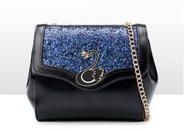 ce5e49535590 Swan chain single shoulder bag Korean PU fashion sequins slanting bag 2018 new  style variety of collocation