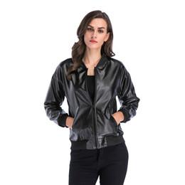 Cool Jackets Zippers NZ - 2018 Jackets Autumn Women Black Loose Collar Cool Lady Leather Jackets Female Zipper Faux Femme Outwear Coat Long Sleeve Women