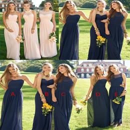 Discount cheap sky blue long formal dress - Bridesmaid Dresses Cheap 2018 Robes de fete Long Chiffon Wedding Guest Dress Prom Ball Party Cocktail Gown Pink Dark Nav