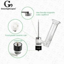 Discount g9 pipe - Original Greenlightvapes G9 Kit Replacement Ceramic Nail Dry Wax Vaporizer Water Glass Pipe Fit for 510 Thread