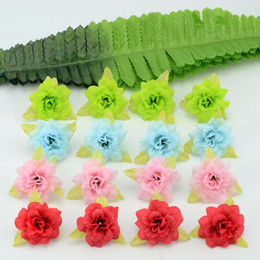 Silk White Rose Leaves NZ - Wholesale-50 Pcs 4cm Handmade Mini Artificial Silk Rose Flowers Heads With Leaves DIY Scrapbooking Flower Kiss Ball For Wedding Decorative