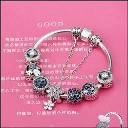 $enCountryForm.capitalKeyWord Australia - Fashion Silver Safety Charms Bracelet Bangle for Women DIY 925 Silver Blue Crystal Beads Fit Original Bracelets Women Jewelry