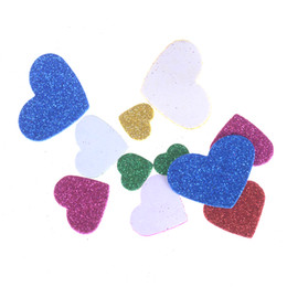 Chinese  Mixed Size glitter foam heart stickers DIY Scrapbooking craft Kids toy Party Decoration 45-55pcs bag New Colorful Heart Confetti manufacturers