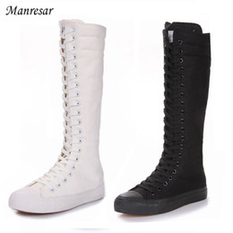 $enCountryForm.capitalKeyWord NZ - 2018 Fashion Women Boots Canvas Lace Up Zip Knee High Boots Women boots Flat Casual Tall Punk Shoes White Black Plus Szie 35-43