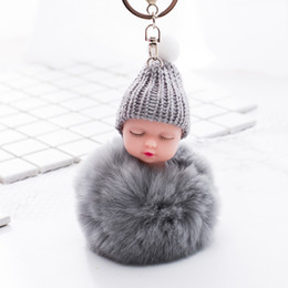 Dolls fur balls online shopping - Sleeping Baby Key Chain Doll Accessories Fluffy Fur Pompom Rabbit Fur Ball Bunny key chain pompon Key ring Bag Accessories For Baby Gifts