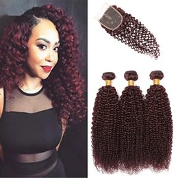 $enCountryForm.capitalKeyWord Australia - Wine Red Brazilian Kinky Curly With Lace Closure Curly Hair With 4x4 Closure Burgundy Brazilian Virgin Human Hair Bundles With Closure 99J