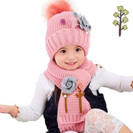 knitted flower scarf UK - Girls Winter Hat Scarf Set For Kids Flower Hailball Beanies And Scarves Child Fur Pom Pom Knit Cap Warm 2 Pcs Suit MZ5322