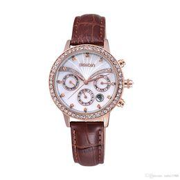 Rose Quartz Fashion Jewelry UK - 2017 Fashion Top design Sexy Women Wristwatch High-grade With diamond Rose Gold Steel Bracelet Chain Stainless steel Lady Female wristwatch