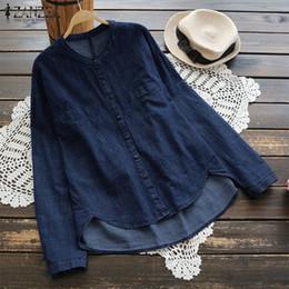 $enCountryForm.capitalKeyWord Canada - 2018 Autumn ZANZEA Elegant Women Loose Casual Long Sleeve Work Blouse Solid Baggy Vintage Button Down Denim Blue Top Shirt Plus