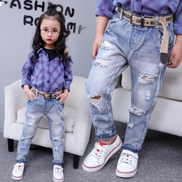 jean trench Canada - Autumn 2018 New Girl Boys Trench Jeans Big Boys girls Korean Light-colored Leggings
