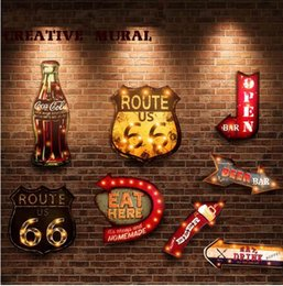 cafe style lights 2019 - Styles Vintage LED Light Neon Signs Decorative Painting For Pub Bar Restaurant Cafe Advertising Signage Hanging Metal Si