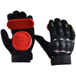 Professional Finger Skateboard UK - 1 Pair Full Finger Shockproof Longboard Skateboard Glove With Protective Sliders Professional Down Hill Skate Board Gloves