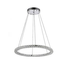 24W D50cm LED хрустальные люстры из нержавеющей стали + прозрачный кристалл кухня столовая кольцо подвесной светильник