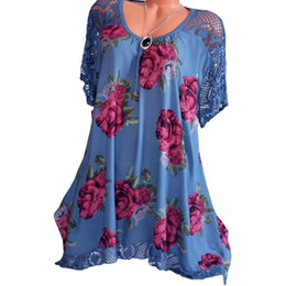 511b26435cd Plus Size Vintage Womens Tops and Blouses Summer Lace Patchwork Floral  Printed Short Sleeve Shirt 2018 Tunic Blusas Feminina