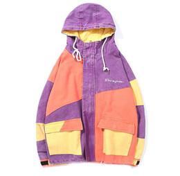 Full Zip Jacket Polyester Australia - Mens Vintage Washed Color Block Patchwork Full Zip Hooded Jackets 2018 Hip Hop Casual Pockets Streetwear Jacket Coats