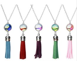 wholesale fish scales NZ - Hot Fashion Multicolor Tassel Shape Mermaid Fish Scales Convex Surface Resin Alloy Pendant Necklace Jewelry Gifts