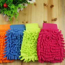Chenille Towels Wholesale Australia - 1PC Elastic cuffs Chenille Coral Velvet Car Wash Dust Removal Glove Car Wash Tools Cleaning Supplies Cloth Towel Glove L22