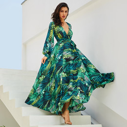 2018 Women Sexy V Neck Floral Printed Chiffon Leaf Maxi Dress Bohemian  Lantern Long Sleeves Loose Beach Vestido Autumn Dress e6a1164a3