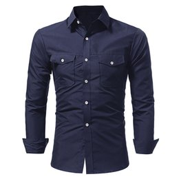 Army Shirt Designs NZ - 2018 New Fashion Brand Camisa Masculina Long Sleeve Shirt Men Double Pocket Slim Design Formal Casual Male Dress Shirt