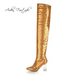 Arden Furtado 2018 autumn winter glitter sequined cloth pointed toe over  the knee boots silver gold women s shoes zipper boots da66bb082863